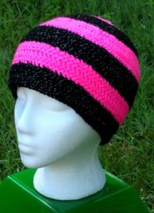 Hot Pink & Black Sparkles Long Hat by Color ME  Crazy LLC