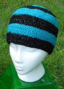 Sparkles: Peacock & Black Long Beanie by Color ME Crazy LLC