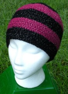 Sparkles: Raspberry & Black Long Tuque by Color ME Crazy LLC